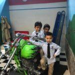 prek students take field trip vehicles