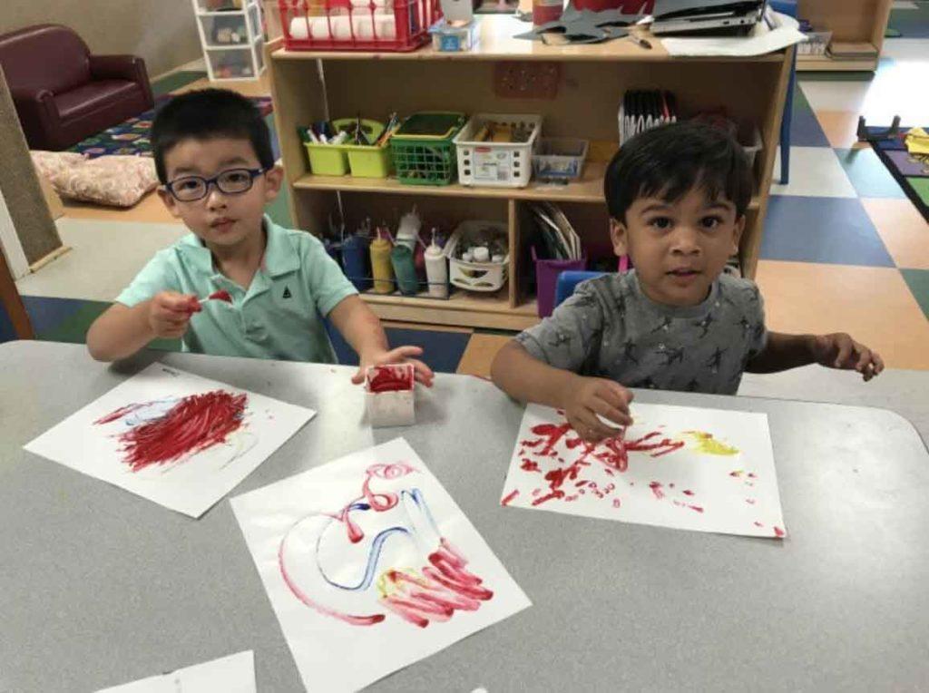 Preschool Students Fingerpainting
