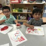Preschool Students Fingerpainting