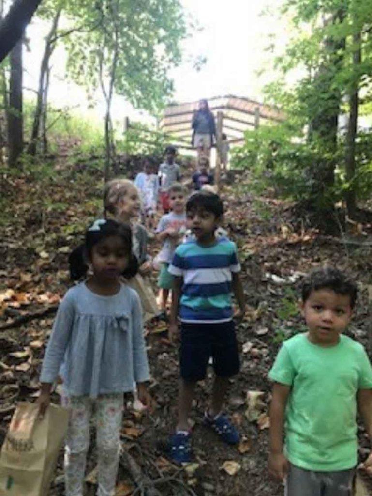 Preschoolers Exploring Nature in our Outdoor Classroom