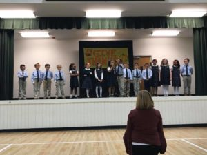 3rd graders recited a poem of Thanksgiving
