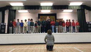 4th graders recited the poem Colors of Thanks