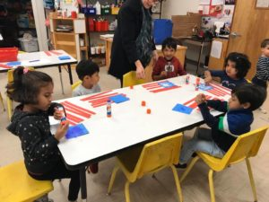 Johns Creek Preschool Classes Making Flags for Veterans Day