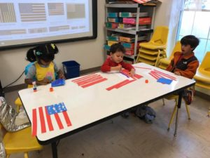 Preschool Classes making flags