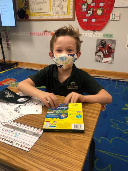 New School Supplies Wearing a Mask