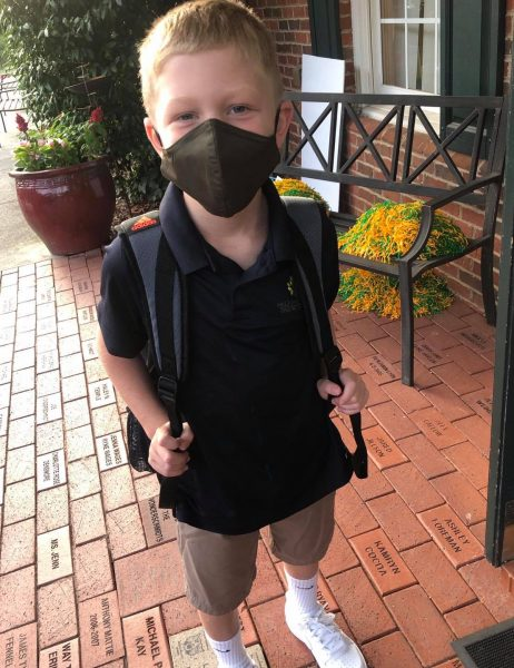 Ready for the first day of school with mask