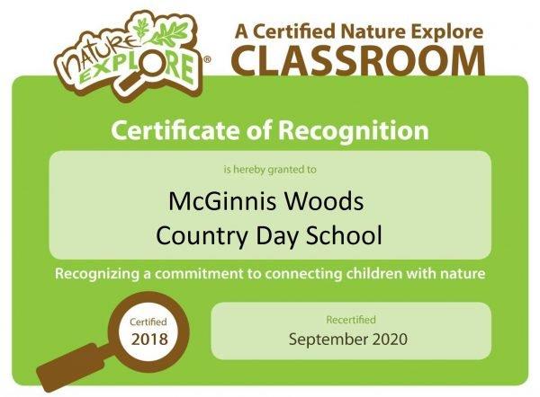 Nature Explore Certified Classroom 2020